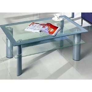 Cocktail Table in Silver 1331 CT T / 1331 CT B: Furniture & Decor