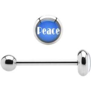Stainless Steel Blue Peace Barbell Tongue Ring Jewelry