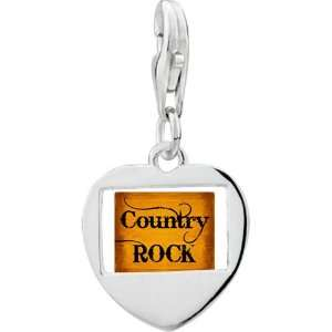 Silver Gold Plated Music Country Rock Letter Photo Heart Frame Charm