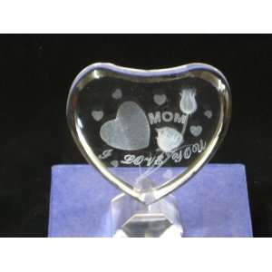 3D Crystal Laser Engraved MOM I Love You with Heart and Flower