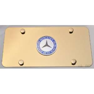 Mercedes Benz 3D logo on GOLD plated License Plate, NEW