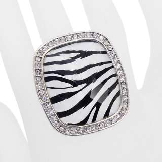 Crystal Rhinestone Animal Print Square Ring Leopard