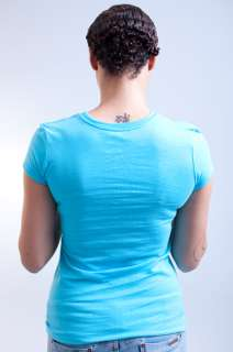NEW WOMENS LUXIRIE LRG LIGHT BLUE WHITE CORE LOGO TEE T SHIRT SIZE XL