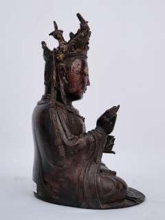 Antique 10 1/8 Tall Chinese Ming Dynasty Gilt Bronze Bodhisattva