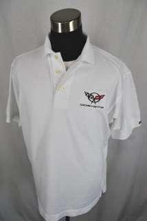CUTTER BUCK corvette car auto golf sports mens casual white polo shirt