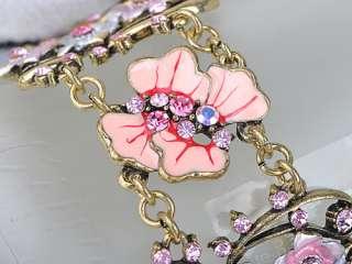 Vintage Gold Tone Pink Rose Lavender Crystal Rhinestone Enamel Chain