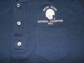vtg PENN STATE NATIONAL CHAMPS 1982 BLUE POLO SHIRT M