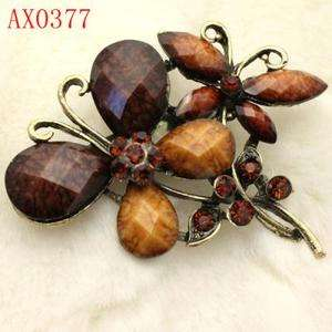 Appealing Brown Crystal Antique Bronze Butterfly Brooch Free shipping