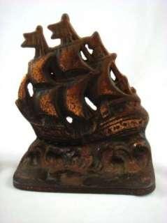 Antique Metal Iron Sailing Ship Galleon Book Ends