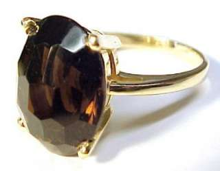 8ct Smoky Topaz / 14KT Solid Yellow Gold Ring Sz 7.75