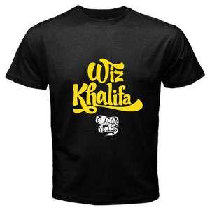 Wiz Khalifa Black and White Rapper Mens Black T Shirt