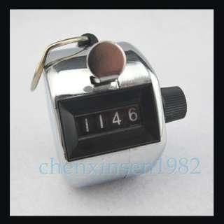 Stainless Steel Chrome Hand Tally Counter 4 Digit Number Clicker Golf