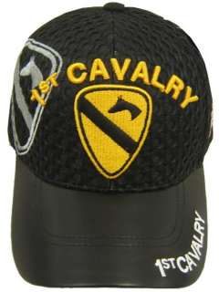 1ST CAVALRY CAV ARMY LEATHER AIR MESH DIVISION HAT CAP