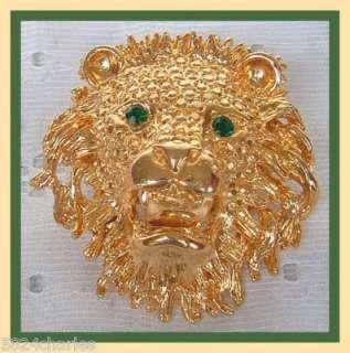 VINTAGE GREEN EYED CRYSTAL LIONS HEAD BROOCH 1.95 NOS