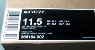 Nike Air Yeezy Kanye West Zen Grey Light Charcoal Size 11.5 366164 002