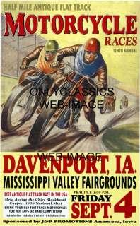INTENSE RACERS MOTORCYCLE POSTER HARLEY DAVIDSON RACING