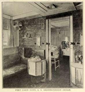 1909 Print North German Lloyd SS Kronprinzessin Cecilie Ocean Liner