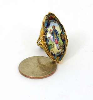 ANTIQUE FRENCH 18K GOLD HAND PAINTED CAMEO LADIES RING