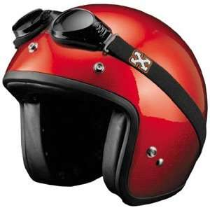 SparX Old School Bobber Open Face Pearl Motorcycle Helmet Sparkle Red