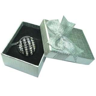 Vintage Tibetan Silver Black Crystal Rhinestone Ring /w/Box 8.5# SR016