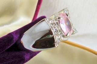 CHUNKY PINK CLEAR CZ SILVER TONE COSTUME RING SZ 9.5