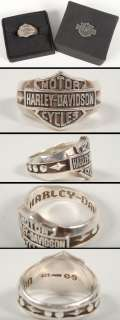 Mens Sterling Silver Harley Davidson Logo Ring/Decorative Band HDR0195