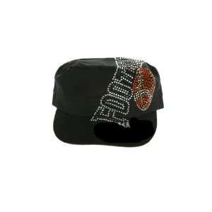 Black Cadet Style Rhinestone Studded Football Hat
