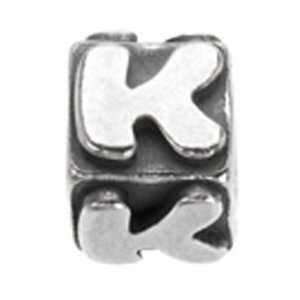 Avedon Polished Sterling Silver Square Initial K Slide