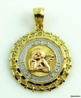 GUARDIAN ANGEL PENDANT   14k Gold May Gold Bless You Da Vinci Cherub