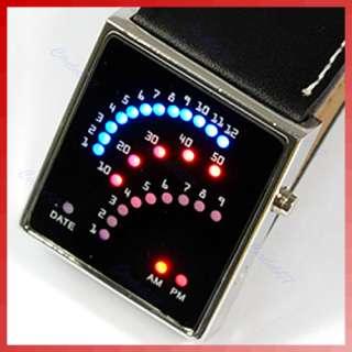 Black Unique Style 29 Blue Red LED Light Men/Lady Watch