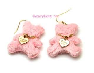 Baby Pink Fluffy Bear W Gold Heart Dangle Earring Cute