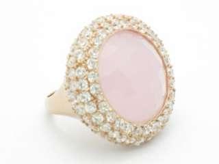 18KT ROSE GOLD STERLING SILVER DIAMOND SET WHITE SAPPHIRE PINK QUARTZ