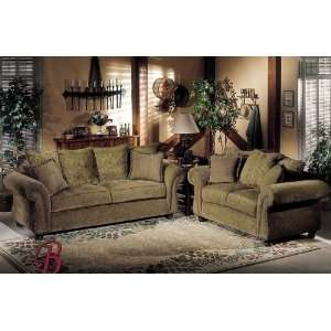 2PC Paris Olive Fabric Sofa Couch Loveseat Set Home