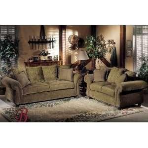 2PC Paris Olive Fabric Sofa Couch Loveseat Set