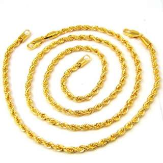 18K YELLOW GOLD PLATED ROPE CHAIN SETS NECKLACE + BRACELET SOLID FILL