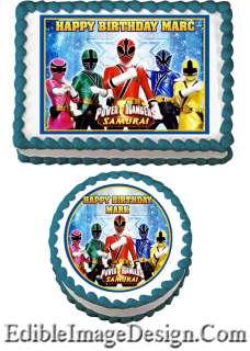 POWER RANGERS SAMURAI #2 Edible Birthday Party Cake Image Cupcake