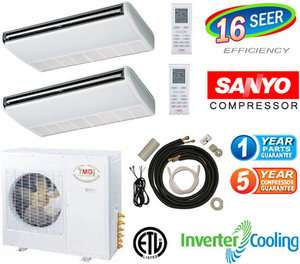 24000 BTU Dual Zone Ductless Mini Split Heat Pump, 12000 x 2 Ceiling