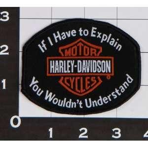 Harley Davidson Patch orange Bar Shield If i Have to explain. For