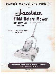 vintage OWNERS MANUAL & PARTS LIST ROTARY LAWN MOWER 21MA