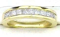 Princess cut DIAMOND Anniversary Ring 18k Yellow Gold Band G color