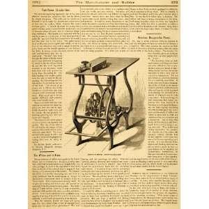 1877 Article Foot Power Circular Saw Woodworking Tool L. C