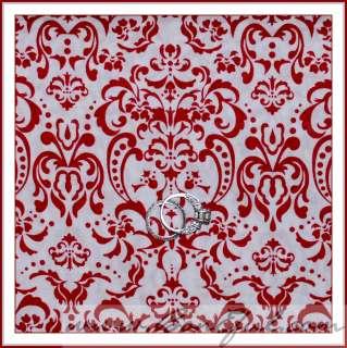 BOOAK Fabric Red White Dot Toile Heart Flower Valentine Xmas Cotton