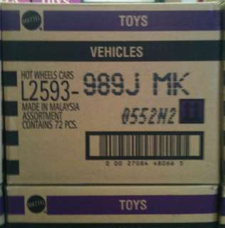 HOT WHEELS 2012 Factory Sealed J Case L2593 989J US Basic 72 Cars