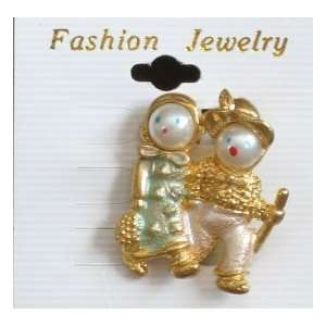 Girl & Boy Pin Brooch (Gold Tone w Faux 1/2 Pearl Faces) Everything