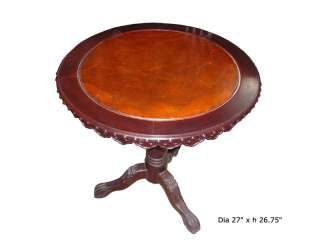 Chinese Oriental Burl Wood Round Pedestal Table s2217