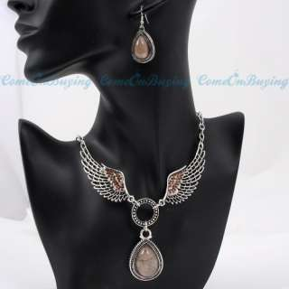 HANDMADE CRYSTAL BROWN GEM STONE ANGEL WING DROP NECKLACE DANGLE