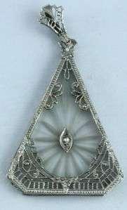 14K WHITE GOLD & ROCK CRYSTAL FILIGREE PENDANT 1 2pt DIAMOND NR 1920c