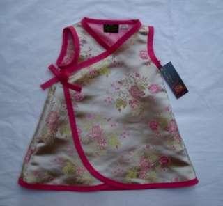 New Gold Pink Cherry Blossom Wedding Asian Wrap Kimono baby toddler