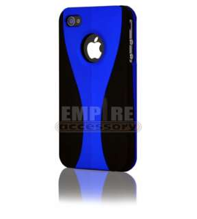 New Blue Black 3 Piece Hard Case Cover iPhone 4 4S w/ Screen