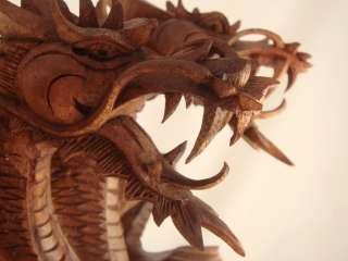 16 Suar Wood Hand Carved Dragon Sculpture ~ Trinity Guardians